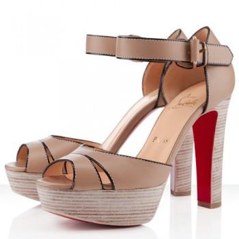 Replica Christian Louboutin Woodaola 120mm Sandals Natural Cheap Fake Shoes
