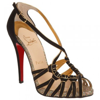 Replica Christian Louboutin Mignons 140mm Sandals Black Cheap Fake Shoes