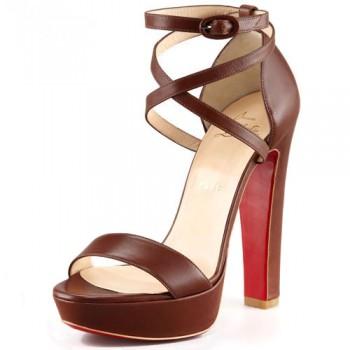 Replica Christian Louboutin Summerissima 140mm Sandals Brown Cheap Fake Shoes