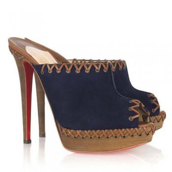 Replica Christian Louboutin Sablina 140mm Sandals Navy Cheap Fake Shoes
