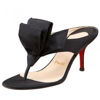 Replica Christian Louboutin Tulp Thong 80mm Sandals Black Cheap Fake Shoes