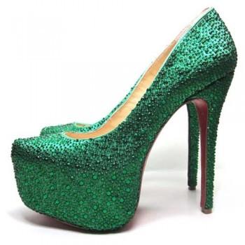 Replica Christian Louboutin Daffodile 160mm Platforms Dark Green Cheap Fake Shoes