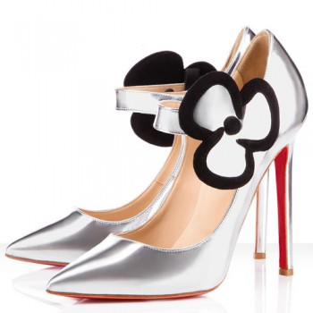 Replica Christian Louboutin Pensee 120mm Mary Jane Pumps Silver Cheap Fake Shoes