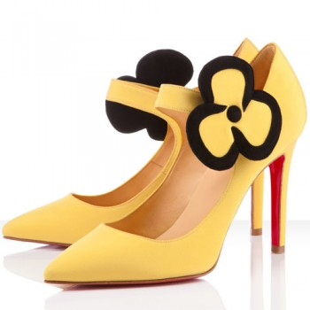 Replica Christian Louboutin Pensee 100mm Mary Jane Pumps Canari Cheap Fake Shoes