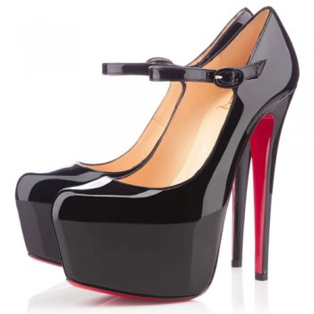 Replica Christian Louboutin Lady Daf 160mm Mary Jane Pumps Black Cheap Fake Shoes
