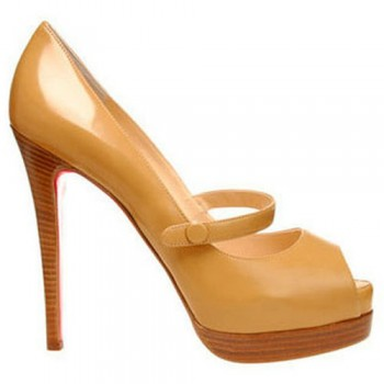 Replica Christian Louboutin No Barre 140mm Mary Jane Pumps Brown Cheap Fake Shoes
