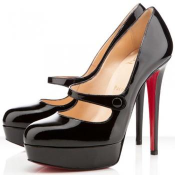Replica Christian Louboutin Relika 140mm Mary Jane Pumps Black Cheap Fake Shoes