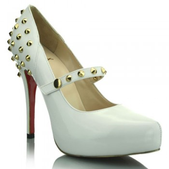 Replica Christian Louboutin Mad 120mm Mary Jane Pumps White Cheap Fake Shoes
