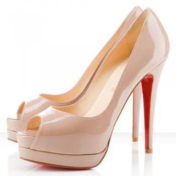 Replica Christian Louboutin Altadama 140mm Peep Toe Pumps Nude Cheap Fake Shoes