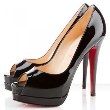 Replica Christian Louboutin Altadama 140mm Peep Toe Pumps Black Cheap Fake Shoes