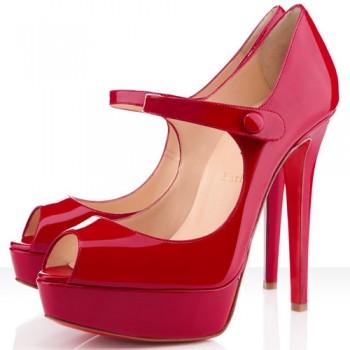 Replica Christian Louboutin Bana 140mm Peep Toe Pumps Red Cheap Fake Shoes