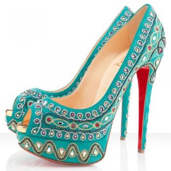 Replica Christian Louboutin Bollywoody 140mm Peep Toe Pumps Caraibes Cheap Fake Shoes