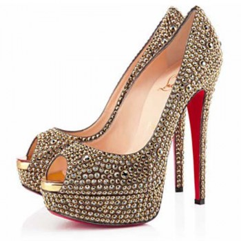 Replica Christian Louboutin Lady Peep Strass 140mm Peep Toe Pumps Gold Cheap Fake Shoes
