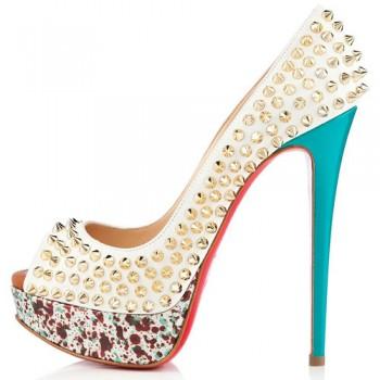 Replica Christian Louboutin Lady Peep Spikes 140mm Peep Toe Pumps Craie Cheap Fake Shoes