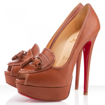 Replica Christian Louboutin Alta Campus 140mm Peep Toe Pumps Fauve Cheap Fake Shoes
