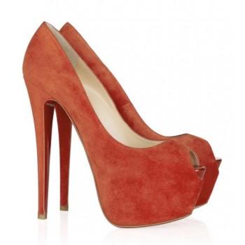 Replica Christian Louboutin Highness 160mm Peep Toe Pumps Orange Cheap Fake Shoes
