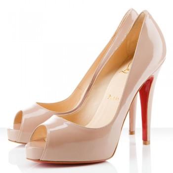 Replica Christian Louboutin Very Prive 120mm Peep Toe Pumps Nude Cheap Fake Shoes