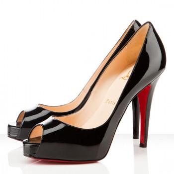 Replica Christian Louboutin Very Prive 120mm Peep Toe Pumps Black Cheap Fake Shoes