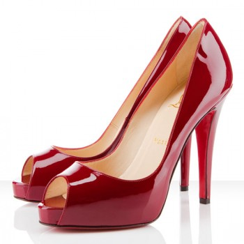 Replica Christian Louboutin Very Prive 120mm Peep Toe Pumps Dark red Cheap Fake Shoes