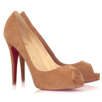 Replica Christian Louboutin Very Prive 120mm Peep Toe Pumps Camel Cheap Fake Shoes