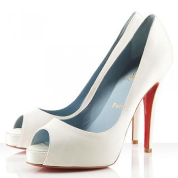 Replica Christian Louboutin Very Prive 120mm Peep Toe Pumps Off White Cheap Fake Shoes