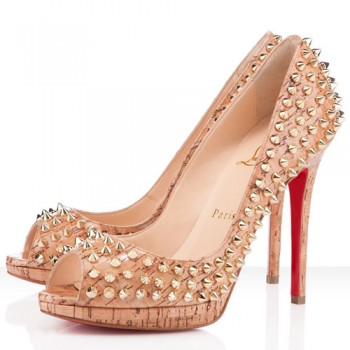 Replica Christian Louboutin Yolanda Spikes 120mm Peep Toe Pumps Natural Cheap Fake Shoes