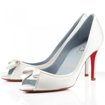 Replica Christian Louboutin Milady 80mm Peep Toe Pumps Off White Cheap Fake Shoes