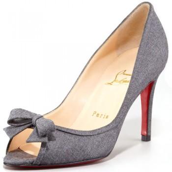 Replica Christian Louboutin Milady 80mm Peep Toe Pumps Light Grey Cheap Fake Shoes