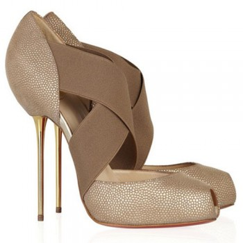 Replica Christian Louboutin Big Dorcet 120mm Peep Toe Pumps Beige Cheap Fake Shoes