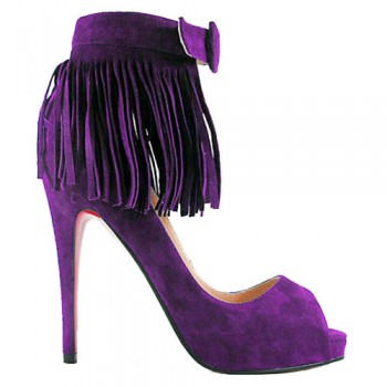 Replica Christian Louboutin Short Tina Fringe 120mm Special Occasion Parme Cheap Fake Shoes