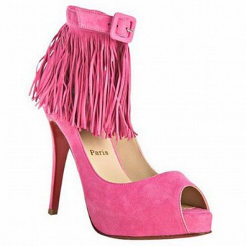 Replica Christian Louboutin Short Tina Fringe 120mm Special Occasion Pink Cheap Fake Shoes
