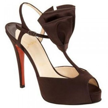 Replica Christian Louboutin Ernesta T-strap 100mm Special Occasion Brown Cheap Fake Shoes