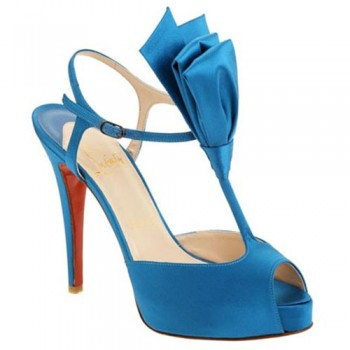 Replica Christian Louboutin Ernesta T-strap 100mm Special Occasion Blue Cheap Fake Shoes