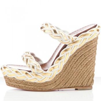 Replica Christian Louboutin Cadena Tresse 140mm Wedges White Cheap Fake Shoes