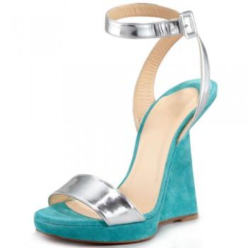 Replica Christian Louboutin Djaldos Spechio Colorblock Wedges Caraibes Cheap Fake Shoes