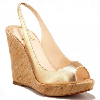 Replica Christian Louboutin Metallic Cork 120mm Wedges Gold Cheap Fake Shoes