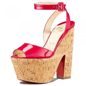 Replica Christian Louboutin Super Dombasle 140mm Wedges Red Cheap Fake Shoes