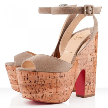 Replica Christian Louboutin Super Dombasle 140mm Wedges Taupe Cheap Fake Shoes