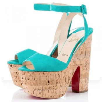 Replica Christian Louboutin Super Dombasle 140mm Wedges Caraibes Cheap Fake Shoes