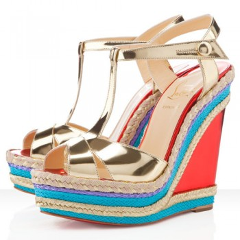Replica Christian Louboutin Trotolita 140mm Wedges Platine Cheap Fake Shoes