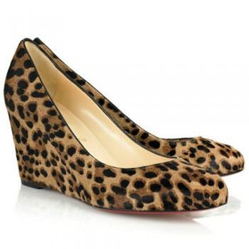 Replica Christian Louboutin Peanut 80mm Wedges Leopard Cheap Fake Shoes