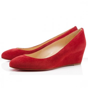Replica Christian Louboutin New Peanut 40mm Wedges Red Cheap Fake Shoes