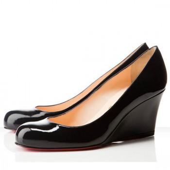 Replica Christian Louboutin Miss Boxe 80mm Wedges Black Cheap Fake Shoes