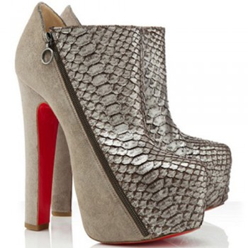 Replica Christian Louboutin 4A 160mm Ankle Boots Taupe Cheap Fake Shoes