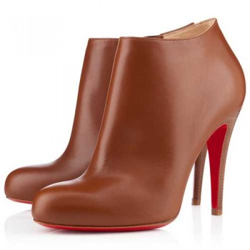 Replica Christian Louboutin Belle 100mm Ankle Boots Brown Cheap Fake Shoes