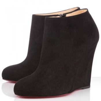 Replica Christian Louboutin Belle Zeppa 100mm Ankle Boots Black Cheap Fake Shoes