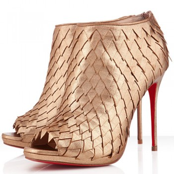 Replica Christian Louboutin Diplonana 120mm Ankle Boots Gold Cheap Fake Shoes