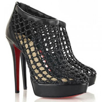 Replica Christian Louboutin Coussin 140mm Ankle Boots Black Cheap Fake Shoes