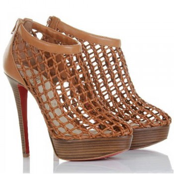 Replica Christian Louboutin Coussin 140mm Ankle Boots Brown Cheap Fake Shoes