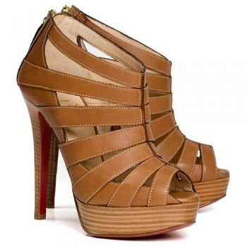Replica Christian Louboutin Pique Cire 140mm Ankle Boots Brown Cheap Fake Shoes